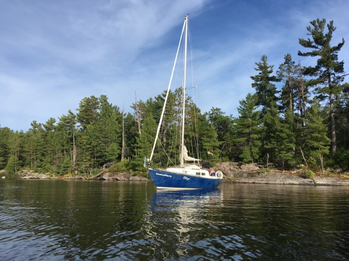 190827 moored for the night in Hunters Bay, French